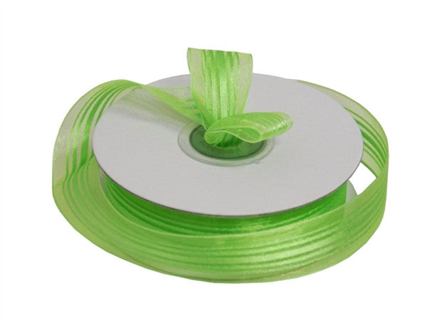 "7/8"" Striped Ribbon-Apple Green"