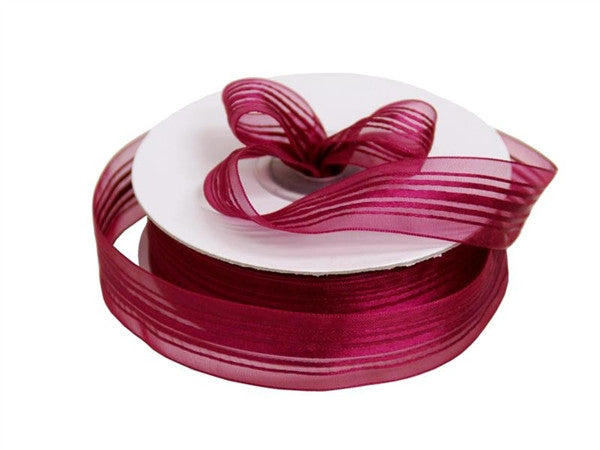 "7/8"" Striped Ribbon-Burgundy"