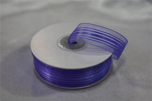 "7/8"" Striped Ribbon-Purple"