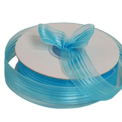 "7/8"" Striped Ribbon-Turquoise"