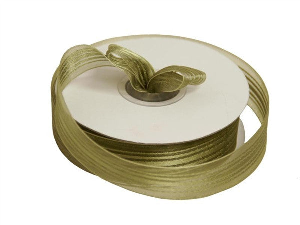 "7/8"" Striped Ribbon - Moss / Willow"