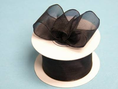 "10 Yards 1.5"" DIY Black Wired Organza Ribbon For Craft Dress Wedding"