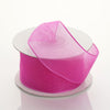 "1.5"" x 10 Yards Organza Ribbon With Wired Edge - Fuchsia"