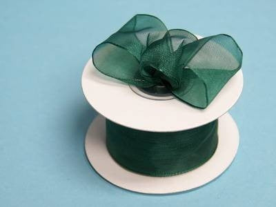 "1.5"" x 10 Yards Organza Ribbon With Wired Edge - Hunter Green"