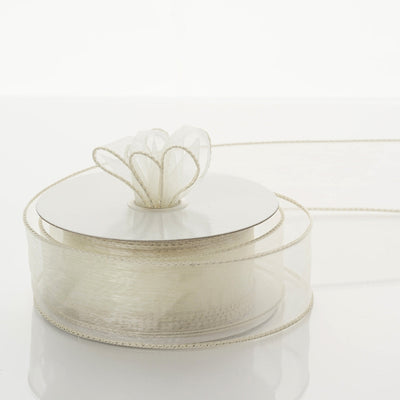 "1.5"" x 10 Yards Organza Ribbon With Wired Edge - Ivory"