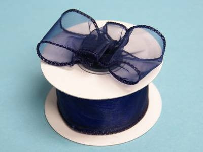 "10 Yards 1.5"" DIY Navy Blue Wired Organza Ribbon For Craft Dress Wedding"