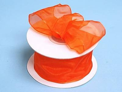 "10 Yards 1.5"" DIY Coral Orange Wired Organza Ribbon For Craft Dress Wedding"