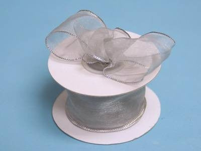 "10 Yards 1.5"" DIY Silver/Silver Wired Organza Ribbon For Craft Dress Wedding"