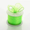 "2.5"" x 10 Yards Organza Ribbon With Wired Edge - Apple Green"