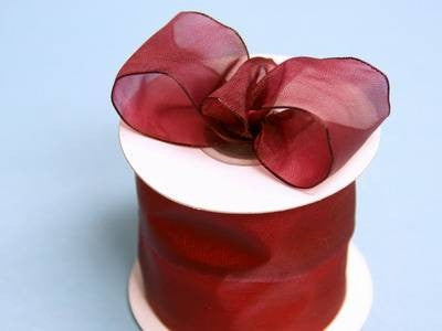 "2 1/2"" Wired Organza Ribbon - Burgundy"