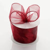 "2.5"" x 10 Yards Organza Ribbon With Wired Edge - Burgundy"