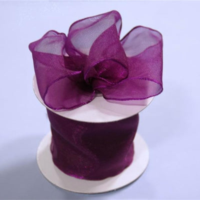 "2 1/2"" Wired Organza Ribbon - Eggplant"