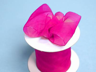 "2 1/2"" Wired Organza Ribbon - Fushia"