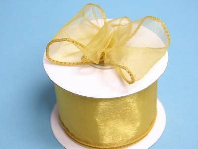 "2 1/2"" Wired Organza Ribbon - Gold"