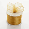 "2.5"" x 10 Yards Organza Ribbon With Wired Edge - Gold"