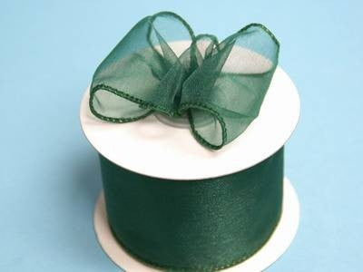"2 1/2"" Wired Organza Ribbon - Hunter"