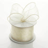 "2.5"" x 10 Yards Organza Ribbon With Wired Edge - Ivory"