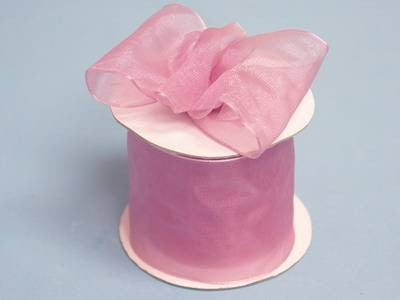 "2 1/2"" Wired Organza Ribbon - Rose Quartz"