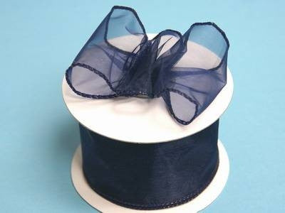"2 1/2"" Wired Organza Ribbon - Navy Blue"