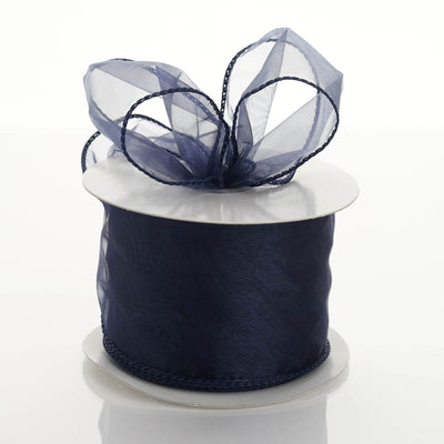"2.5"" x 10 Yards Organza Ribbon With Wired Edge - Navy Blue"