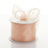 "2.5"" x 10 Yards Organza Ribbon With Wired Edge - Peach"