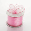 "2.5"" x 10 Yards Organza Ribbon With Wired Edge - Pink"