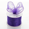 "2.5"" x 10 Yards Organza Ribbon With Wired Edge - Purple"