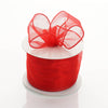 "2.5"" x 10 Yards Organza Ribbon With Wired Edge - Red"