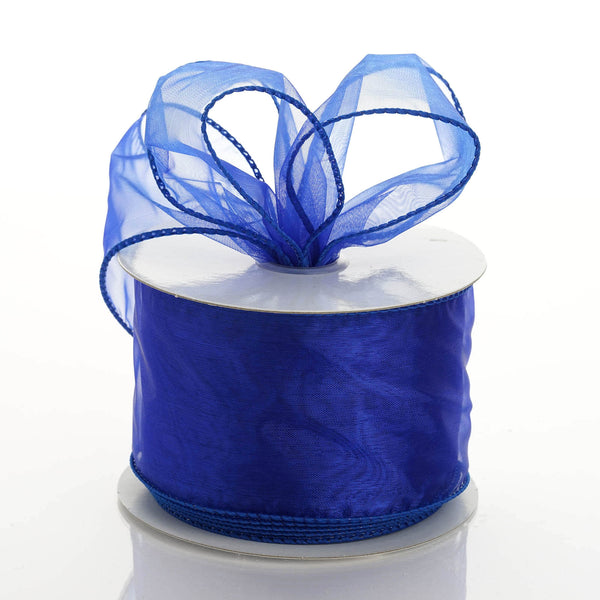 "2.5"" x 10 Yards Organza Ribbon With Wired Edge - Royal Blue"