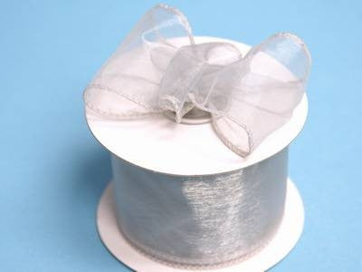 "2 1/2"" Wired Organza Ribbon - Silver"