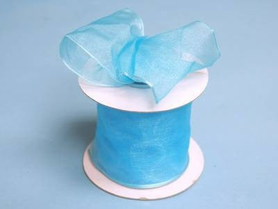 "2 1/2"" Wired Organza Ribbon - Turquoise"