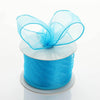 "2.5"" x 10 Yards Organza Ribbon With Wired Edge - Turquoise"