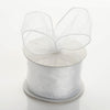 "2.5"" x 10 Yards Organza Ribbon With Wired Edge - White"