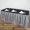 14FT Perfect Picnic Inspired White/Black Checkered Polyester Table Skirt For Wedding Party Event