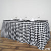 17FT Perfect Picnic Inspired White/Black Checkered Polyester Table Skirt For Wedding Party Event