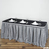 21FT Perfect Picnic Inspired White/Black Checkered Polyester Table Skirt For Wedding Party Event