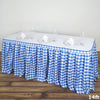 14FT Perfect Picnic Inspired White/Blue Checkered Polyester Table Skirt For Wedding Party Event