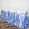 17FT Perfect Picnic Inspired White/Blue Checkered Polyester Table Skirt For Wedding Party Event