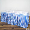 21FT Perfect Picnic Inspired White/Blue Checkered Polyester Table Skirt For Wedding Party Event