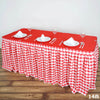 14FT Perfect Picnic Inspired White/Red Checkered Polyester Table Skirt For Wedding Party Event
