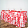 17FT Perfect Picnic Inspired White/Red Checkered Polyester Table Skirt For Wedding Party Event