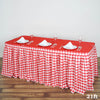 21FT Perfect Picnic Inspired White/Red Checkered Polyester Table Skirt For Wedding Party Event