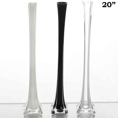 "20"" Black Eiffel Tower Wedding Glass Vases-12 PCS"