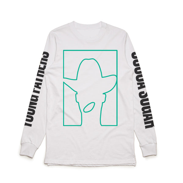 COCOA SUGAR OUTLINE LONG SLEEVE WHITE T-SHIRT