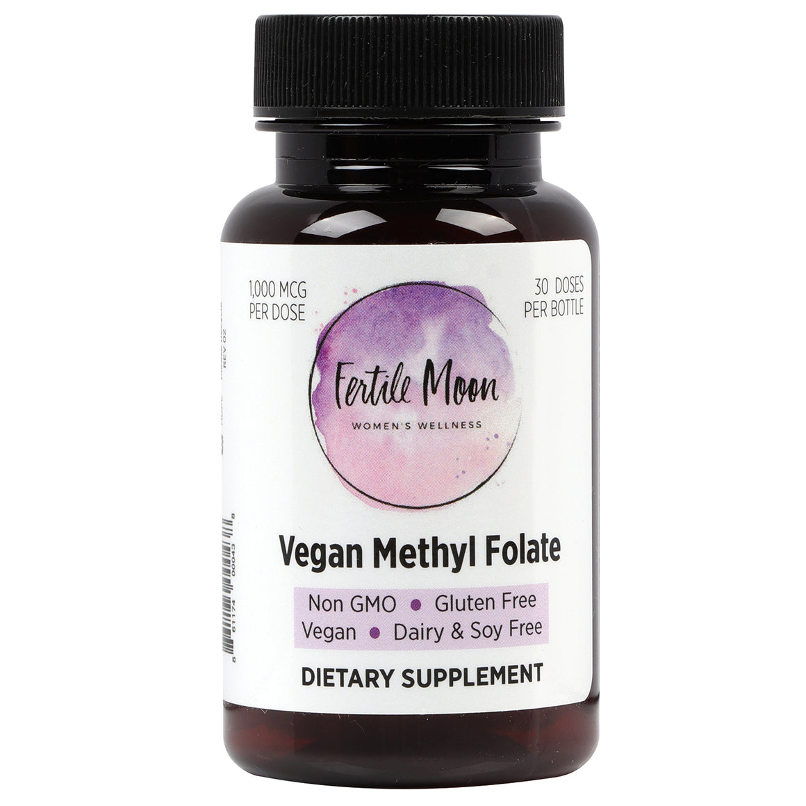 Vegan Methyl Folate by Fertile Moon® - 1000 mcg (1 mg) per Capsule - 30 Capsules per Bottle - Non-GMO, No Gluten, No Dairy, No Soy