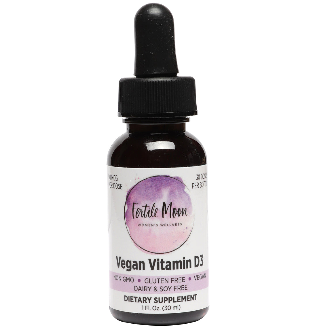 Liquid Vitamin D3 Vegan 50 mcg (2000 IU) Per Dose by Fertile Moon® - Premium Plant-Based Vitamin D3 from Lichen - Non-GMO, No Gluten, Dairy, or Soy - 30 Doses per Bottle