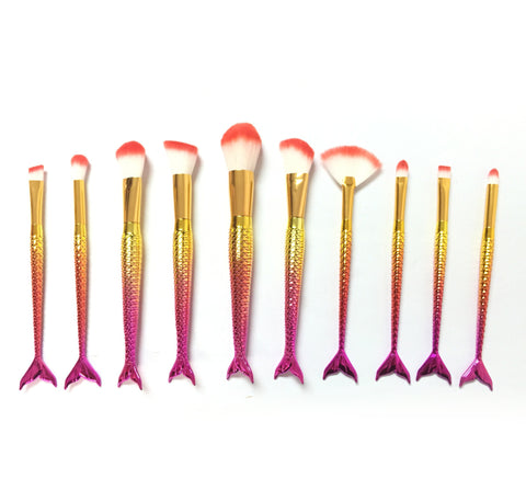 10 Sunset Mermaid Tail Makeup Brushes