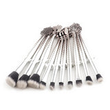 10 Mermaid Tail + Fins Makeup Brushes - Silver