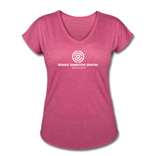 MCS Women's Tri-Blend V-Neck T-Shirt - heather raspberry