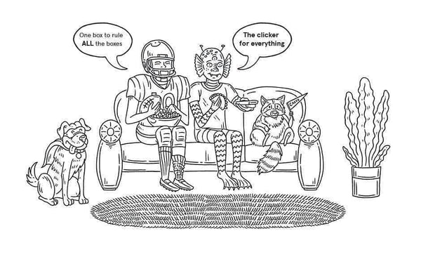 Cartoon drawing of a dog, football player, alien, and raccoon sitting on a couch watching TV